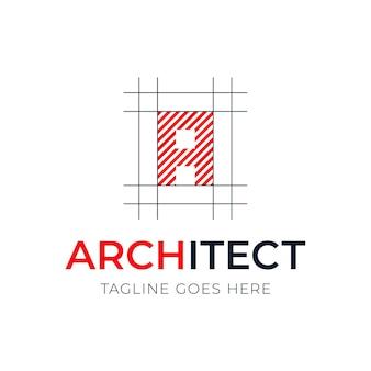 Création de logo de style architecture lettre. plan de conception avec logo de lettre