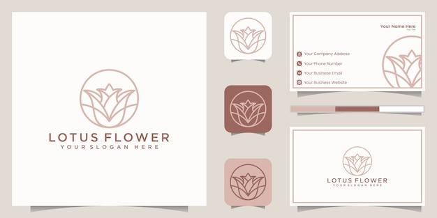 Création de logo de style art ligne fleur de lotus. centre de yoga, spa, logo de luxe de salon de beauté. création de logo, icône et carte de visite