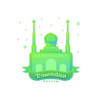 Création de logo de style dégradé de mosquée