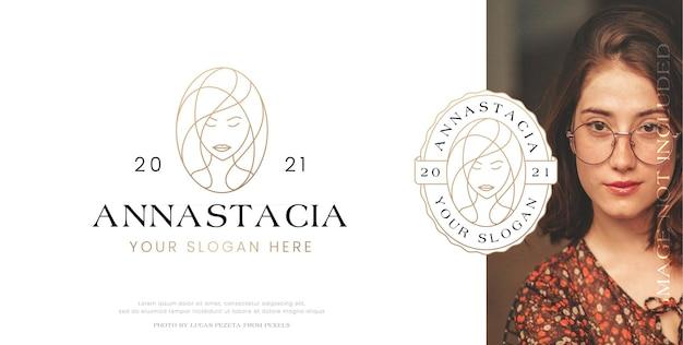 Création de logo de style linéaire femmes potrait