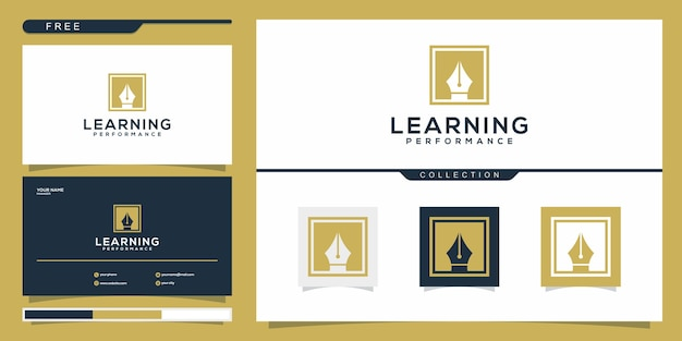 Création de logo de stylo abstrait et carte de visite