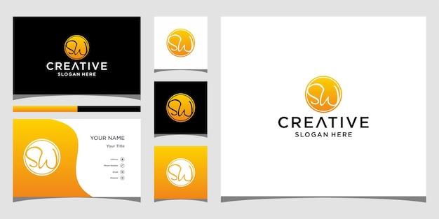 Création de logo sw avec modèle de carte de visite