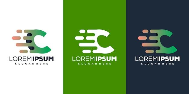 Création de logo tech coloré lettre c