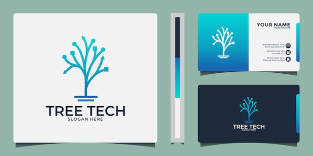 Création de logo de technologie d'arbre minimaliste
