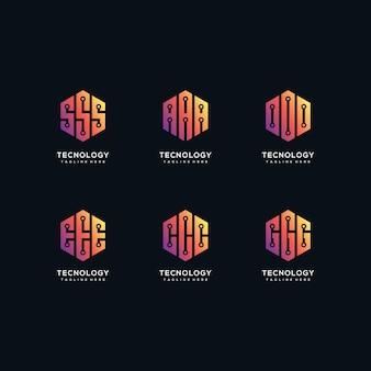 Création de logo de technologie de collection
