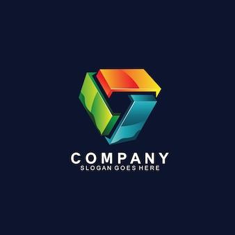 Création de logo de technologie géométrique moderne