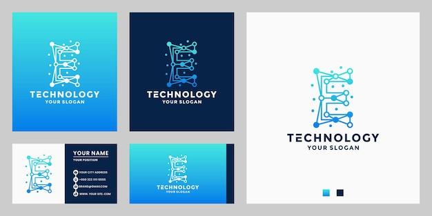 Création de logo de technologie initiales e. concept de point connecté