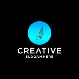 Création de logo de technologie j