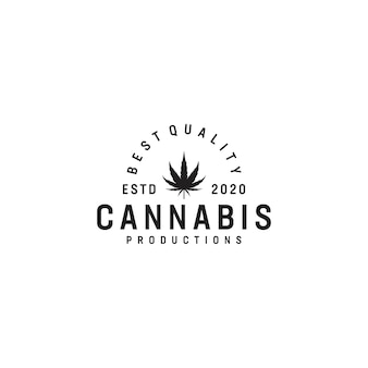 Création de logo de thème vintage cannabis