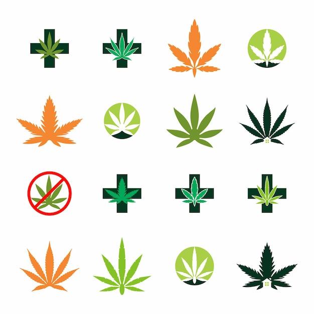 Création de logo de thérapie de cannabis médical et de soins de santé