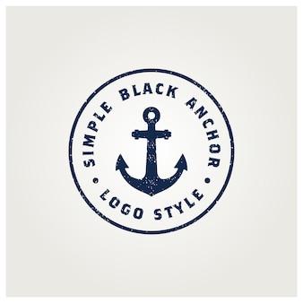 Création de logo de timbre rétro vintage simple ancre silhouette