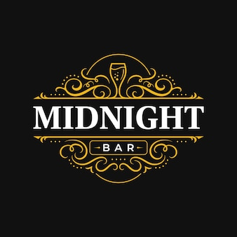 Création de logo de typographie ornementale de luxe vintage restaurant bar à vin avec ornement fleuri