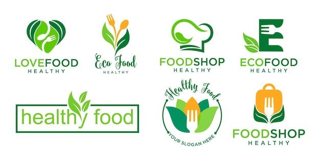 Création de logo de vecteur d'aliments sains pour le logo de la nourriture écologique