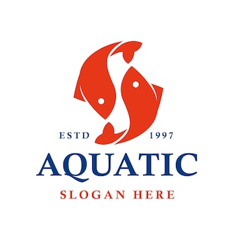 Création de logo vectoriel japonais de poissons aquatiques