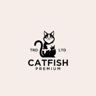 Création de logo vectoriel de poisson-chat premium