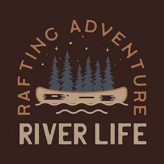 Création de logo de la vie de la rivière. ecusson badge rafting aventure. conception de camp pour t-shirt, autres imprimés. étiquette d'insigne extérieure. stock