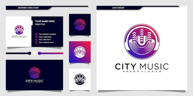 Création de logo de ville de musique avec création de logo d'espace négatif de couleur dégradée de luxe vecteur premium