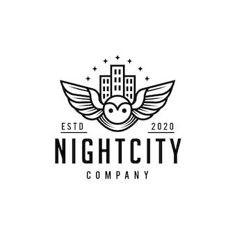 Création de logo de ville oiseau de nuit