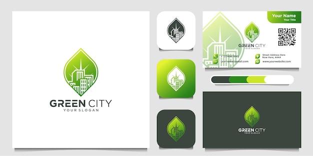 Création de logo de ville verte et icône de carte de visite bâtiment feuille vecteur premium