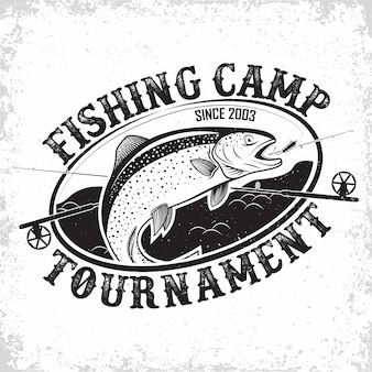 Création de logo vintage de club de pêche