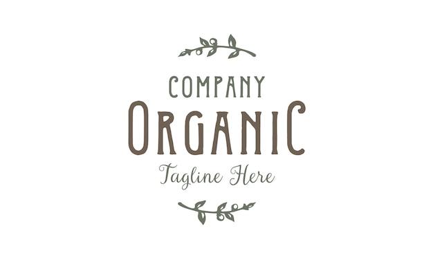 Création de logo vintage étiquette de typographie biologique