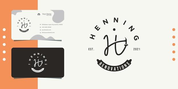 Création de logo vintage marteau outil h