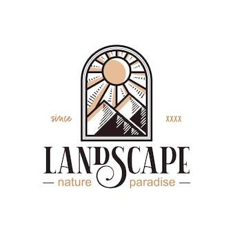 Création de logo vintage de paysage de fenêtre
