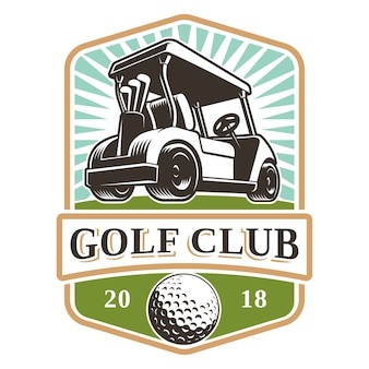 Création de logo de voiturette de golf sur fond blanc. le texte est sur le calque séparé.