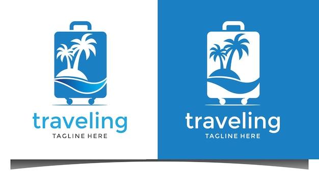 Création de logo de voyageur de plage