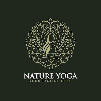 Création de logo de yoga femme or