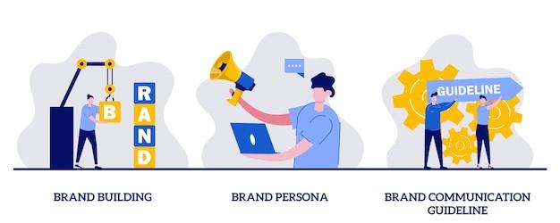 Création de marque, personnalité de la marque, concept de ligne directrice de communication de marque avec petit caractère