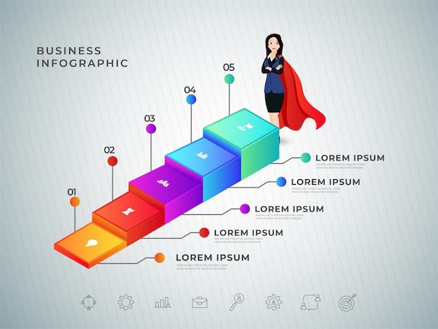 Création de modèle de concept d'affaires étape 3d femme succès