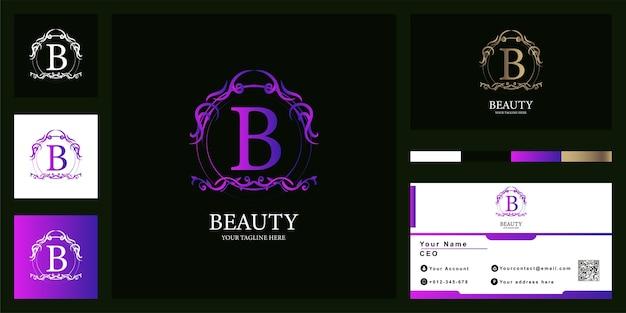 Création de modèle de logo de cadre de luxe ornamflower lettre b avec carte de visite.