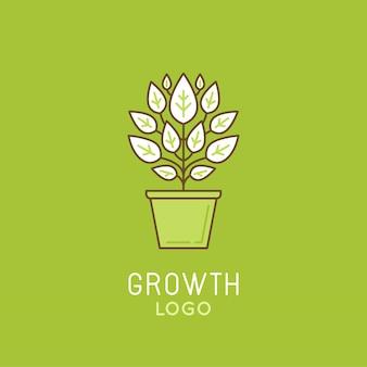 Création de modèle de logo de croissance dans un style linéaire branché
