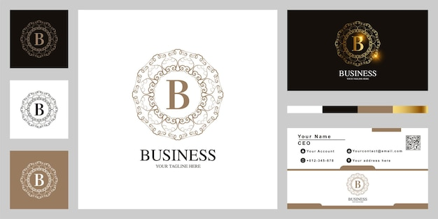 Création de modèle de logo lettre b ornement fleur cadre avec carte de visite.