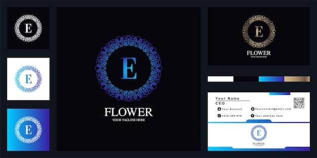 Création de modèle de logo lettre luxe ornement fleur cadre avec carte de visite