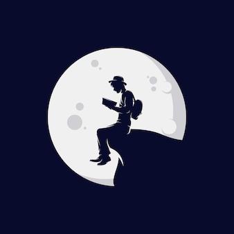 Création de modèle de logo de livre de lecture homme