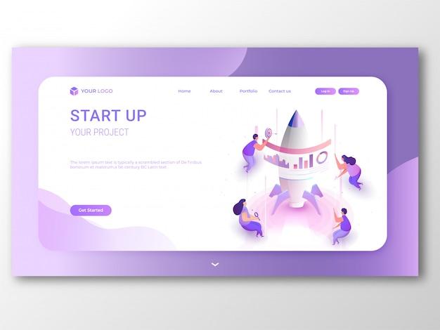 Création d'une page de destination ou d'une bannière avec réactif business start up.