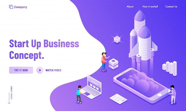 Création d'une page de destination basée sur le concept new business startup