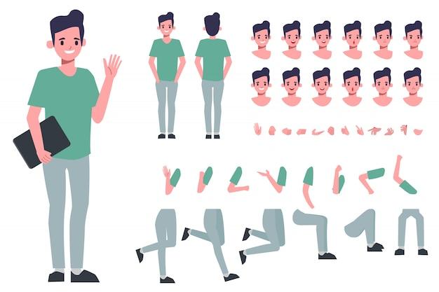 Création de personnage d'homme d'affaires pour l'animation. prêt pour l'émotion et la bouche du visage animé.