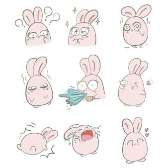 Création de personnage de lapin rose dessinés à la main de vecteur