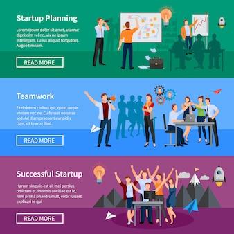 Création réussie de pages web avec 3 bannières horizontales plates avec démarrage, planification du produit et thé innovants