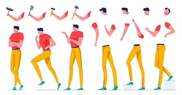 Création de work man, construction de parties du corps à plat.