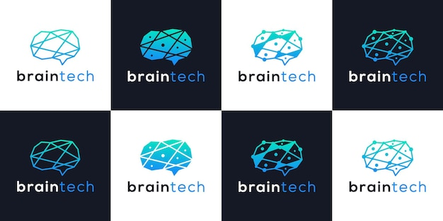 Creative brain tech logo design technologies intelligentes collections modernes