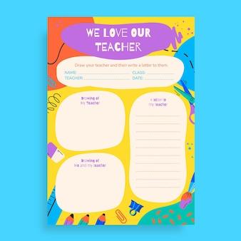 Creative coloré nous aimons notre feuille de travail de l'enseignant