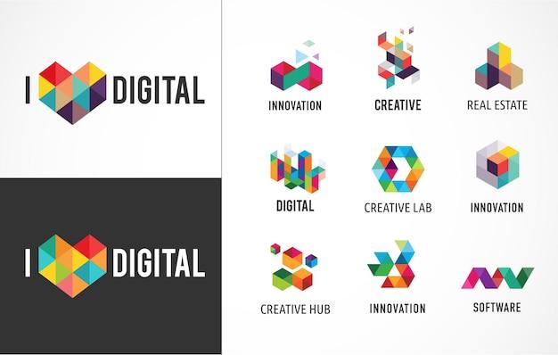 Creative, icônes colorées abstraites numériques, logos