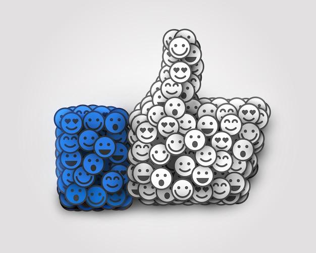 Creative like icône composée de nombreux petits sourires. concept de réseau social.