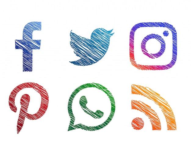 Creative scribble sketch style icônes de médias sociaux