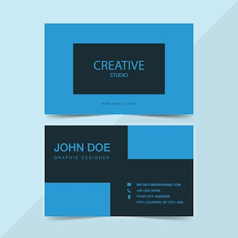 Creative studio business card en bleu