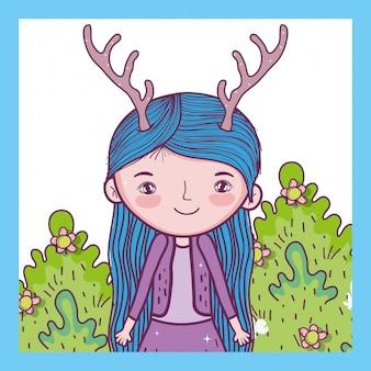 Créature fantastique fille avec des bois dans les buissons
